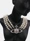 Luxury Full Diamond Shiny Saturn Women Necklace Crystal Pearl Saturn Pendant Necklace - #06