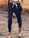 Color Patchwork Elastic Waist Drawstring Soft Pants With Side Pocket - Navy