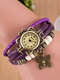 10 Colors Vintage Multilayer Women Watch Leather Band Butterfly Pendant Bracelet Watch - Purple