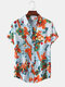 Mens Vintage Floral Oil Printting Short Sleeve Shirts - Blue