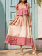 Women Contrast Color Sleeveless Knotted Patchwork Casual Dress - Pink