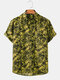 Mens Floral Printed Light Casual Short Sleeve Shirts With Pocket - Yellow