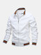 Mens Sport Outdoor Loose Zipper Up Stand Collar Solid Lightweight Jacket - White