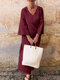 Solid Color Loose V-neck Casual Maxi Dress For Women - Wine Red