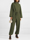 Solid Color Plain Knitted Drawstring Long Sleeve Casual Jumpsuit for Women - Green