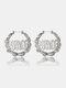 Trendy Letter Pattern Earrings Temperament Metal Bamboo Circle Earrings - Silver