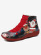 Christmas Pattern Comfort Splicing Zipper Ankle Casual Boots For Women - Red2