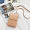 Women Solid Faux Leather 6 Inch Phone Bag Square Shoulder Bag