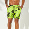 Men Tie Dye Print Mini Short Summer Beach Slim Smooth Mesh Liner Drawstring Board Shorts - Bright Green