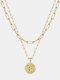 Luxury Layering Paperclip Chain Women Necklace 26 Initials Coin Pendant 14K Gold Plated Necklace Clavicle Chain - F