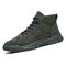 Men Canvas Splicing Breathable Non Slip Soft Casual Tooling Boots - Green