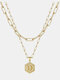 Luxury 14K Gold Plated Hexagonal Women Necklace Gold Layered Paperclip Link 26 Initials Pendant Necklace - D