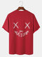 Mens Grimace Letter Print 100% Cotton Loose Street Short Sleeve T-Shirts - Red