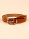 Women PU Carved D-shaped Pin Buckle Solid Versatile Casual All-match Belt - Brown