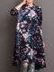 Floral Print Half-collar Casual Dresses for Women - Navy