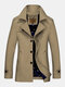Mens British Style Single Breasted Business Casual Mid Length Solid Jackets - Khaki