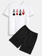 Mens Poker A Element Print Crew Neck Cotton Casual Two Pieces Outfits - White