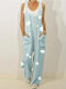 Floral Print Straps Loose Casual Jumpsuit For Women - Light Blue