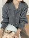 Cárdigan de manga farol con botones y cuello alto de talla grande - gris