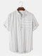 Mens 100% Cotton Striped Short Sleeve Casual Henley Shirt - White