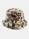 Women & Men Double-Sided Animals Panda Pattern Casual Cute Bucket Hat - Khaki
