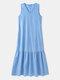 Solid Sleeveless V-neck Plus Size Ruffle Long Dress - Blue