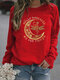 Moon Letter Printed Casual Long Sleeve T-Shirt For Women - Red