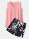 Women V-Neck Pink Tank Top & Floral Print Shorts Cotton Home Pajama Sets - Dark Gray