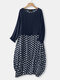 Casual Polka Dot Patchwork Two Pieces Plus Size Maxi Dress - Navy