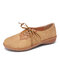 LOSTISY Splicing Bowknot Lightweight Lace Up Casual Flat Shoes - Camel
