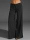 Casual Solid Color Pockets Plus Size Pants for Women - Black