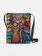 Abstract Lovely Psychedelic Cats Print Pattern Comfy Waterproof Multi-Pockets Magnetic Clasp Shoulder Bag - Blue