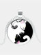 Vintage Glass Printed Women Necklace Yin-Yang Black-White Cat Pendant Necklace Jewelry Gift - Silver