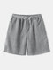 Mens Solid Color Corduroy Basics Texture Shorts With Pocket - Gray