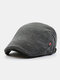 Men Woolen Autumn And Winter Knitting Contrast Color Warm Forward Hat Flat Hat - Gray