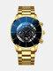 Business Men Watch Steel Band Waterproof Calendar Quartz Watch - Blue Needle Gold Band