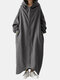 Solid Color Plain Zipper Pocket Long Sleeve Casual Hooded Coat for Women - Gray