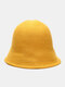 Women Woolen Cloth Solid Color Knitted Casual Warmth Bucket Hat - Yellow