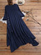 Side Button Layers Solid Plus Size Vintage Maxi Dress - Navy