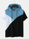 Mens Tricolor Patchwork Short Sleeve Casual Hooded T-Shirt - Blue
