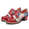 SOCOFY Elegant Flowers Pattern Genuine Leather Retro Round Toe Lace-up Heels Shoes - Red
