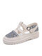 Women Casual Retro Buckle Lace Hollow Out Flats - Gray