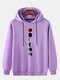 Mens Moon Graphic Print Solid Drawstring Casual Pullover Hoodie - Purple