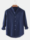 Mens Cotton & Linen Solid Color Thin Casual Long Sleeve Shirts With Pocket - Navy