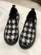 Women Casual Plush Houndstooth Warm lining Skate Shoes - Black