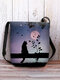 Women Cat Pattern Print Crossbody Bag Shoulder Bag - Black