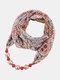 Vintage Chiffon Women Scarf Necklace Beaded Pendant Lattice Flowers Pattern Silk Scarf - #14