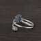 Vintage 925 Silver Open Women Ring Simple Two-Layers Flower Bud Ring - Silver