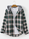 Plus Size Mens Check Plaid Print Button Casual Drawstring Hooded Shirt - Green