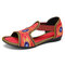 Elastic Band Peep Toe Handmade Embroidered Hollow Out Flat Sandals - Red